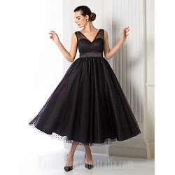 Australia Formal Dress Evening Gowns Black Plus Sizes Dresses Petite A-line Princess V-neck Tea-length Tulle